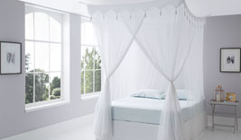 Decorative Top Cotton Mosquito Net Bed Canopies Box / Square Design in Super King & King Sizes
