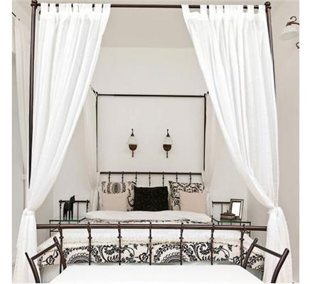 Muslin four poster cotton bed curtains drapes mosquito nets online uk - Four poster bed curtains ...