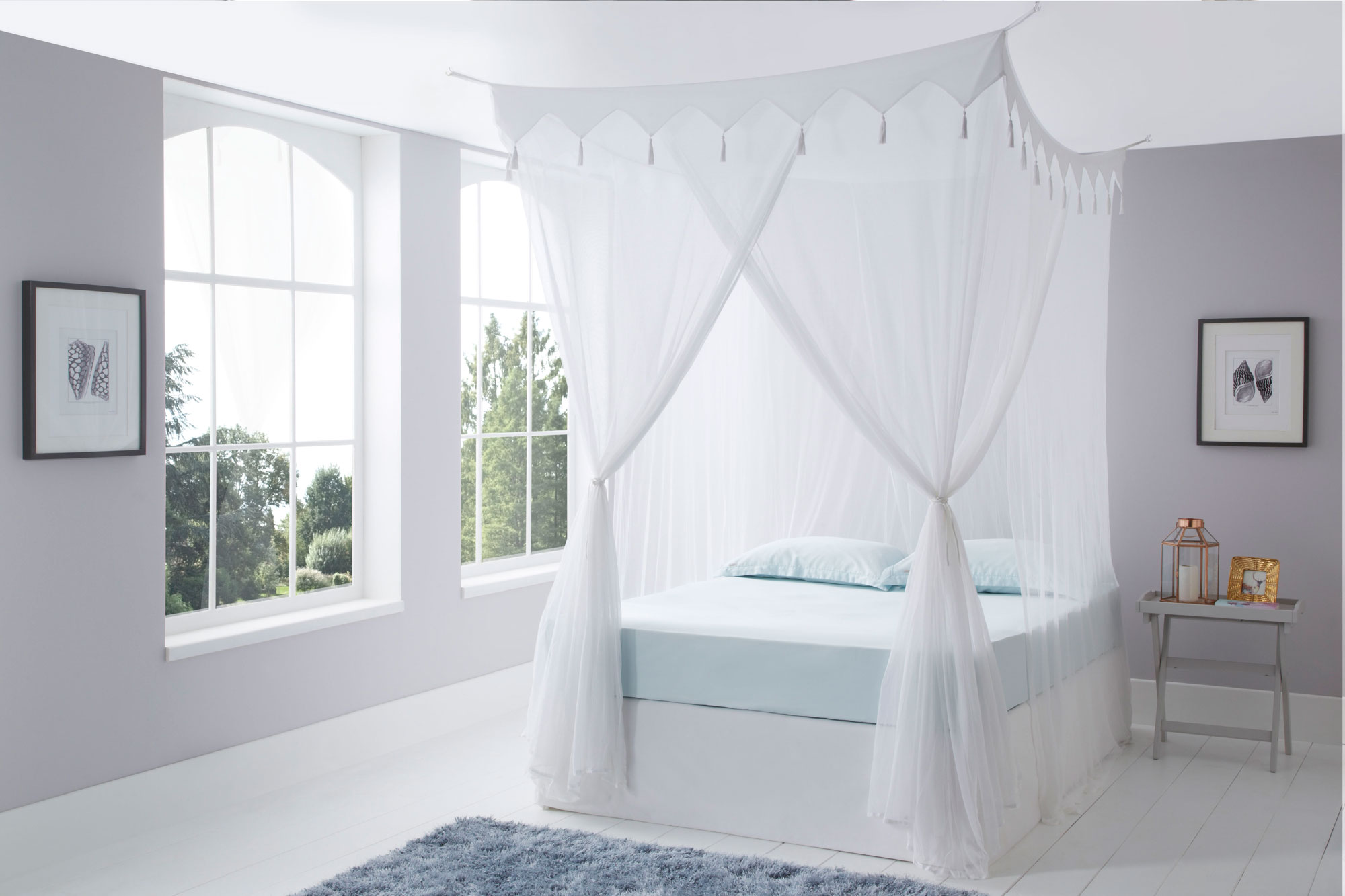 Decorative box cotton mosquito net super king size for Bed decoration with net